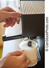 Whipping milk with espresso machine at home