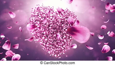 Whirl Rotating Pink Rose Sakura Flower Petals In Heart Shape Background Loop