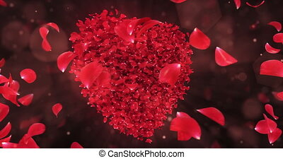 Whirl Rotating Red Rose Flower Petals In Lovely Heart Shape Background Loop