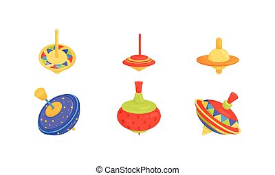 Whirligig Toy Vector Set. Colorful Childish Pegtop...