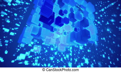 """Whirling Abstact Blue Space Cubes"" - ""Wonderful 3d..."