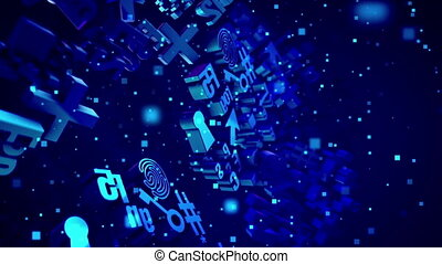 """Whirling Abstract Blue 3D Symbols"" - ""Opt art 3d rendering..."