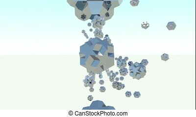 whirling figures on white backround. abstract 3d graphics , ...