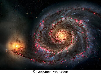 Whirlpool Galaxy. Graceful arms of the majestic spiral galaxy.