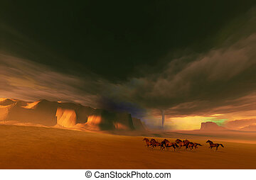 WHIRLWIND - A herd of wild horses run from a tornado and...