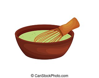 Whisk in a cup with green batter. Vector illustration on white background.