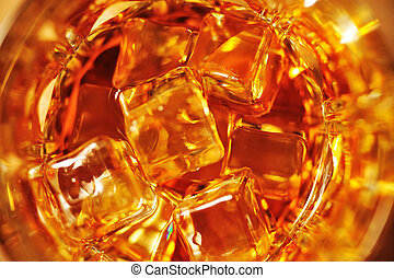 whiskey and ice close up