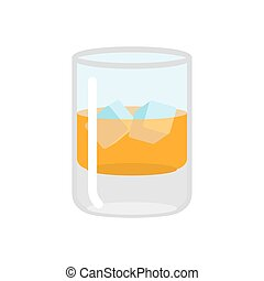 Whiskey and ice. Glass of scotch on rocks. Drink on white...