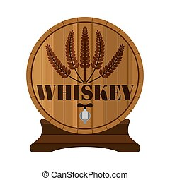 Whiskey barrel, Premium quality. Wheat wreath, flat style. Wood