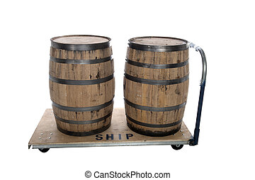 whiskey beer barrels on cart