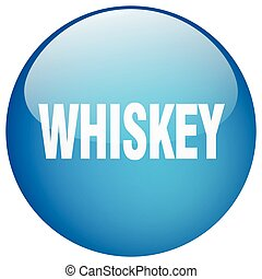 whiskey blue round gel isolated push button