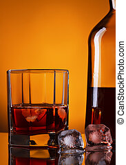 Whiskey Bottle And Glass - whiskey bottle and glass on...
