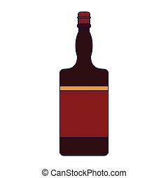 Whiskey bottle isolated blue lines
