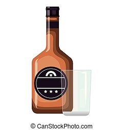 whiskey bottle with glass