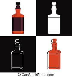 Whiskey bottles vector isolated on white background.