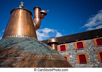 Whiskey distillery Old copper washback in Ireland