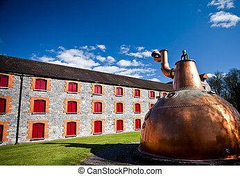 Whiskey distillery Old copper washback in Ireland - whisky...