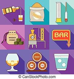 Whiskey factory icon set, flat style