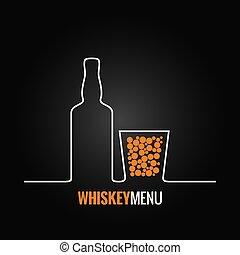 whiskey, glasflaska, bakgrund, meny