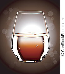 Whiskey glass - Glass of whiskey isolated on brown...