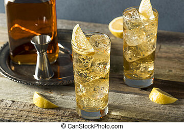 Whiskey Highball with Ginger Ale and Lemons
