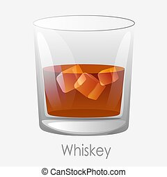 Whiskey ice glass. Scotch dark orange colour ice cubes.