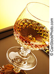 Whiskey in stem glass - Whiskey in crystal stem glass on...