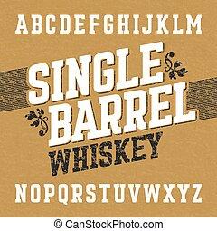 Whiskey label font