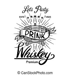 Whiskey label vintage hand drawn border typography blackboard vector. Alcohol. Wooden barrels drinks signs. Typographic labels, badges with hand sketched kegs. Used for restaurant, cafe, bar menu. retro