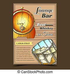 Whiskey Lounge Bar Best In Town Poster Vector. Glass With ...