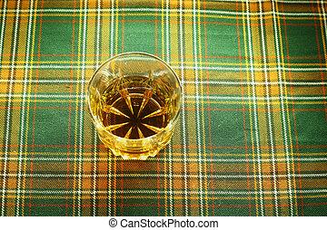 Whiskey on tartan
