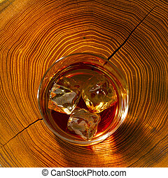 whiskey on the rocks and wood - Whiskey on the rocks and on ...