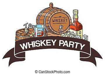 Whiskey party banner vector illustration. Glass with ice cubes and liquid, barrel with tap, bottle with label, cigar. Alcohol drink for restaurant, bar, cafe menu concept.