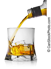 Whiskey pouring from a bottle into a glass with ice