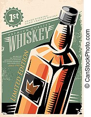 Whiskey retro vector poster design with whisky bottle on old...