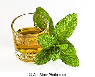 whiskey, skott, och, mynta