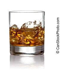 Whiskey splash. on a white background