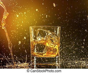 Whiskey splashing around glass
