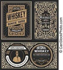 whiskey, verpackung, satz, abzeichen, weinlese