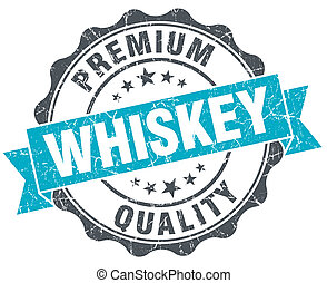 whiskey vintage turquoise seal isolated on white