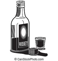 whiskey, whisky, flaska, skott glas