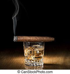 whiskey, zigarre