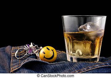 whisky americano, tela vaquera, y, llaves