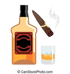 Whisky and ice. Gentleman set. Bottle of scotch. Cigar and smoke. Mens Accessories