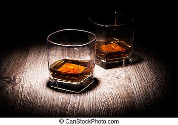 whisky, anteojos