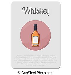 whisky, autocollant, alcool, bouteille
