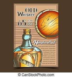 whisky, bannière, vecteur, vieux, handcrafted, publicité