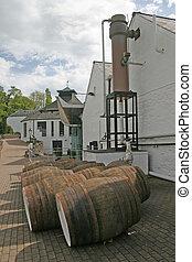 Whisky Barrels at Distillery in Scotland UK