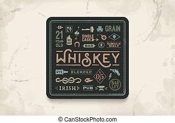 whisky, bevanda, sottobicchiere, alcool