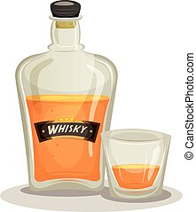 Whisky Bottle And Glass - Illustration of a cartoon whisky...